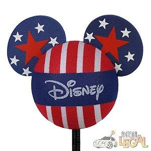 Enfeite de Antena para Carro Mickey Bandeira Estados Unidos Disney
