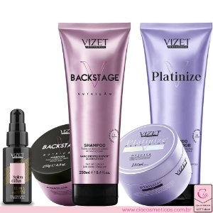 Combo Backstage Home Care + Splendidus 11 in 1 30ml + Platinize Home Care Vizet Profissional