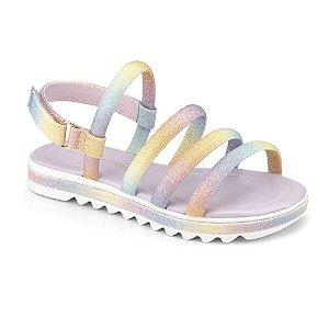 Sandalia Infantil Bibi Flat Form Rainbow Colorida Brilho