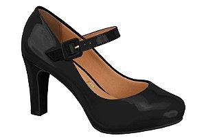 sapato social vizzano salto alto com meia-pata verniz preto - 1840103-preto