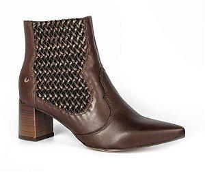 ankle boot salto alto tanara couro tobacco marrom - t3342-tob