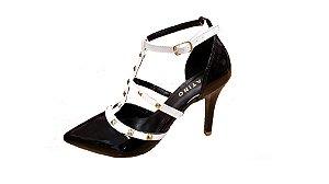 sandalia social sapatino preto e branco com spikes - 026202-pto