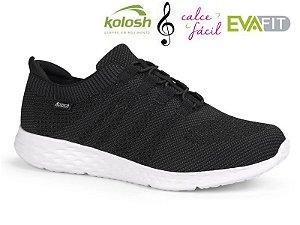 Tenis Esportivo Kolosh Feminino Tecido Malha Preta - K8344-0001