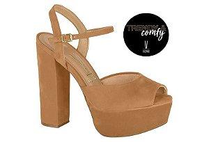 sandalia casual vizzano salto alto com meia-pata nobuck glam marrom camel - 6282400-cml