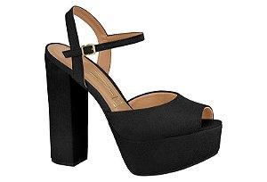 sandalia casual vizzano salto alto com meia-pata nobuck glam preto - 6282400-pto