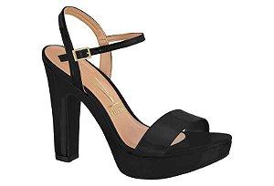 sandalia casual vizzano salto alto com meia-pata verniz preto - 6292100-pto