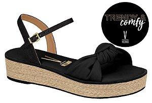 sandalia casual vizzano flatform preta e rafia - 6415201-pto