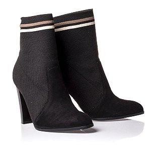 mid boot ramarim salto alto tecido malha preta - 1856105-0001