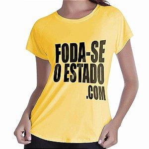 Camiseta Amarela Feminina - Foda-seoestado.com