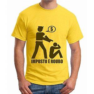 Camiseta Amarela Masculina - Imposto é roubo