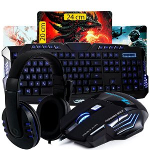 Kit Gamer Teclado + Mouse Usb + Fone Headset + Mousepad K35