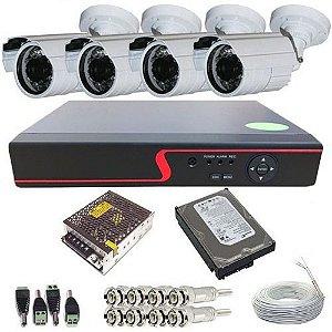 Kit Câmeras De Segurança Residencial Com Acesso Internet + HD