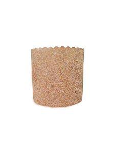 Forma de Panetone Kraft Decorado (Chapisco) - 250 Grs. Pcte. c/ 50 UN. R$ 0,30