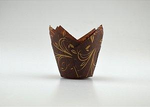 Forminhas Tulipas para CupCake – Marrom c/ dourado - 100UN - R$ 0,34 Unitário