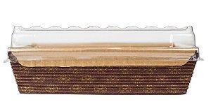 Forma Bolo Inglês com Abas c/ TAMPA -  Forneavél - Decorada 250g  - 10UN - R$ 2,40 - Unitário
