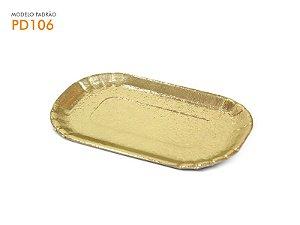 Pratinho p/ Monoporção Dourado Retangular 8,8x14 Cm. - 01und.