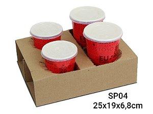 Suporte (4 copos) - 25 x 19 x 6,8 cm - 1 un.