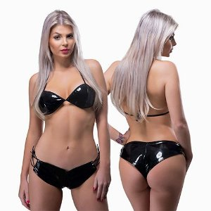 Conjunto Short E Top Vinil Black Submission Sexy Fantasy