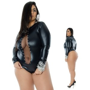 Body Fendy Preto Plus Size - Sapeka