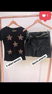 Shorts clochard em couro eco Black
