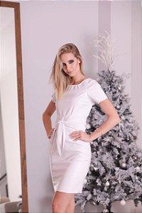 Vestido basic em couro eco white