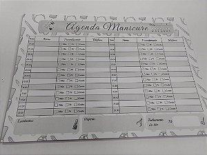 Agenda Manicure de Mesa Personalizada Preto E Branco