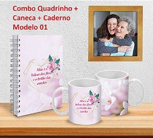 Caneca 325ml + Caderno (Diversos Modelos) + Quadrinho Decorativo PERSONALIZADO