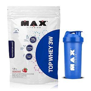 Top Whey 3w Mais Performance (1,8kg) - Max Titanium- GRÁTIS COQUETELEIRA
