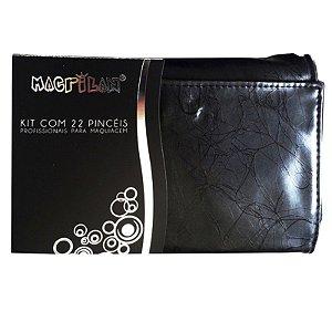Kit Pincel Para Maquiagem Profissional Macrilan 22 Peças