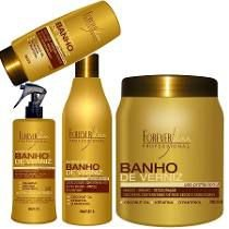 Forever Liss - Kit Banho de Verniz (Shampoo 500ml + Queratina 300ml + Leave in 150ml + Máscara 1k)