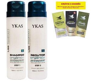 Ykas Escova Progressiva Shampoo e Redutor Orgânico 300ml Kit ( 2 Produtos)
