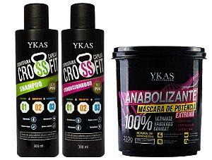 Kit Shampoo 300ml + Condicionador 300ml Cronograma Capilar + Anabolizante 250g YKAS