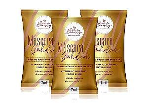 Máscara Facial New Beauty Pro Golden Com Ouro 7ml Kit (3 unidades)