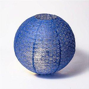 Luminária Japonesa Rendada Azul - 40 cm