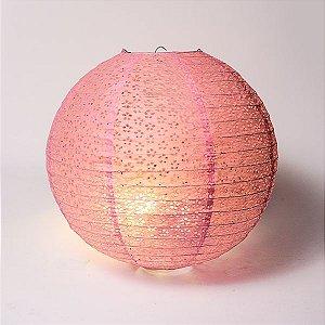 Luminária Japonesa Rendada Rosa - 40 cm