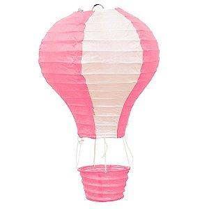 Luminária Japonesa Balão Rosa com Branco - 40 cm
