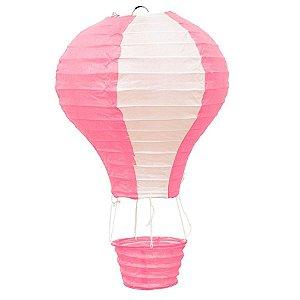 Luminária Japonesa Balão Rosa com Branco - 30 cm