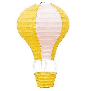 Luminária Japonesa Balão Amarelo com Branco - 30 cm