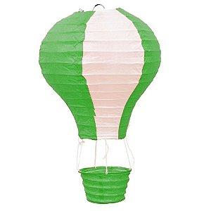 Luminária Japonesa Balão Verde com Branco - 30 cm