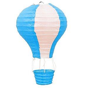 Luminária Japonesa Balão Azul com Branco - 30 cm