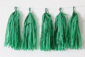 Varal de Franja Tassel Verde - 15 peças