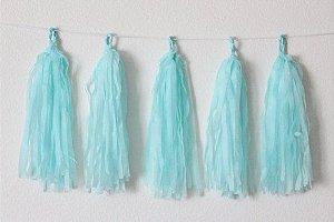 Varal de Franja Tassel Azul Claro - 15 peças