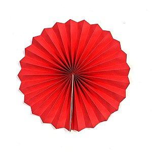 Margarida Leque de Papel Pregueada Vermelha - 20 cm