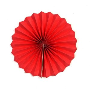 Margarida Leque de Papel Pregueada Vermelha - 30 cm