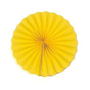 Margarida Leque de Papel Pregueada Amarelo - 40 cm