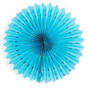 Margarida Leque de Papel Decorativa Azul Claro - 40cm