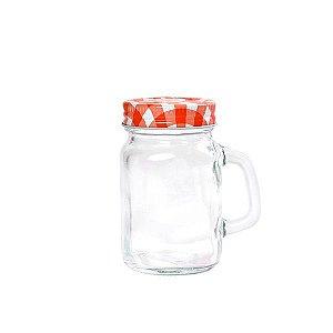 Mini Mason Jar Vermelha c/ Furinho - 130 ml - 1 Unidade