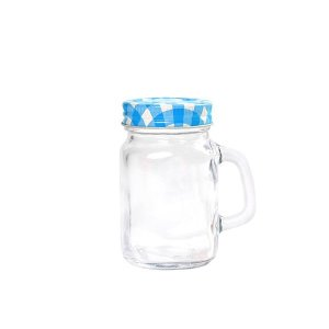 Mini Mason Jar Azul c/ Furinho - 130 ml - 1 Unidade