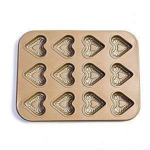 Forma para Mini Bolos Coração - 12 Cavidades - 1 unidade