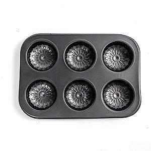 Forma para Mini Bolos Girassol - 6 Cavidades - 1 unidade